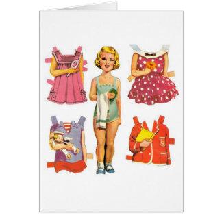 Poupées de papier vintages carte de vœux
