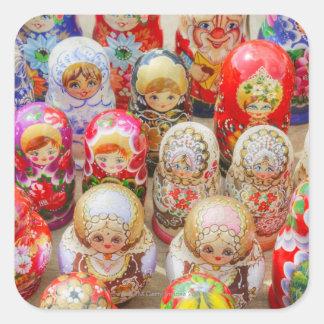 Poupées nichées russes sticker carré