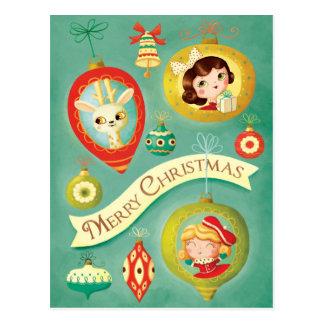 Poupées vintages de Noël et carte postale de renne