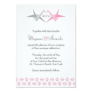Pour Carrie : Épouser de grues d'origami (rose et Carton D'invitation 12,7 Cm X 17,78 Cm