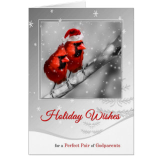pour des paires de parrains de Noël rouge de Carte De Vœux
