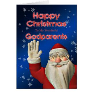 Pour des parrains, Père Noël ondulant la carte de