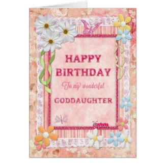 Pour la filleule, carte d'anniversaire de métier