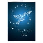 Pour la soeur, colombe de carte de Noël de paix