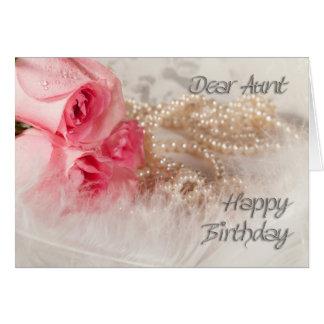 Pour la tante, les roses et les perles de joyeux cartes