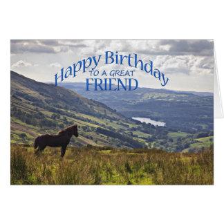 Pour l'ami une carte d'anniversaire de cheval et