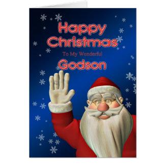 Pour le filleul, Père Noël ondulant la carte de