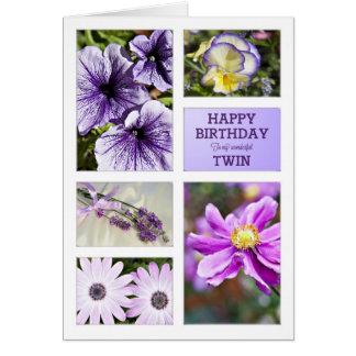 Pour le jumeau, carte d'anniversaire florale de