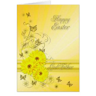 Pour le parrain, carte de Pâques avec les fleurs