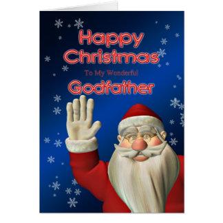 Pour le parrain, Père Noël ondulant la carte de