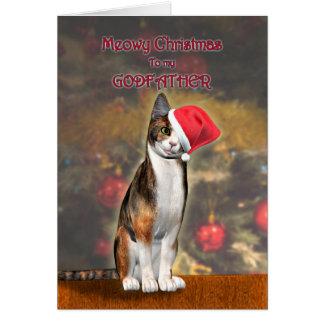 Pour le parrain, un chat drôle dans un chapeau de  carte de vœux