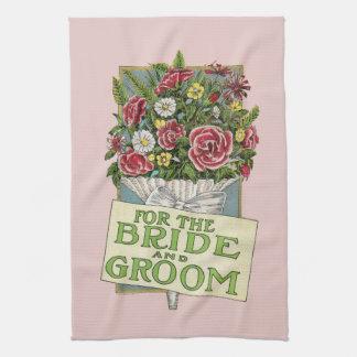 Pour les fleurs de Cru-Style de rose de jeunes mar Serviettes Pour Les Mains