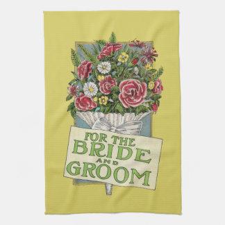 Pour les fleurs jaunes de Cru-Style de jeune marié Serviettes Éponge