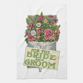 Pour les jeunes mariés, fleurs de Cru-Style Serviette Pour Les Mains