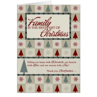 pour Noël vert de parrain rétro et rouge Carte De Vœux