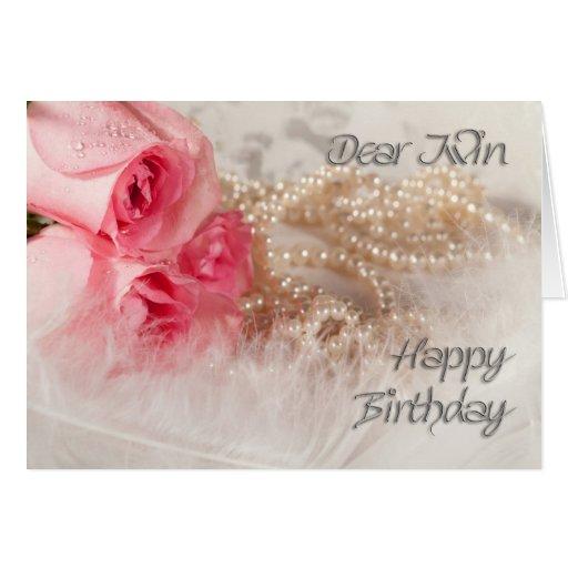 Pour roses et perles d'anniversaire jumeau et joye carte