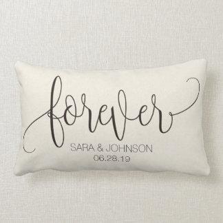 Pour toujours, calligraphie, cadeau de mariage oreiller