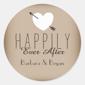 Pour toujours épouser heureusement l'autocollant sticker rond