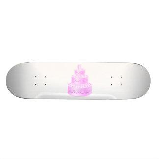 Pour toujours gâteau de mariage rose d'amour skateboard customisable