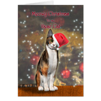 Pour votre chat, un chat drôle dans un chapeau de carte de vœux