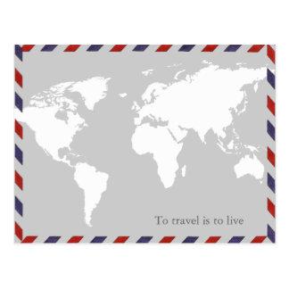 pour voyager est de vivre. worldmap carte postale