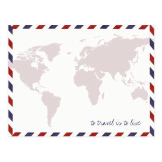 pour voyager est de vivre/worldmap cartes postales