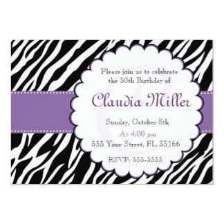 Pourpre adulte d'anniversaire d'invitation de carton d'invitation  12,7 cm x 17,78 cm