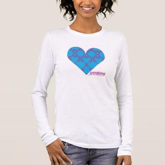 Pourpre-Aqua 3 de damassé T-shirt À Manches Longues