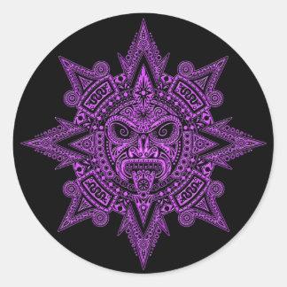 Pourpre aztèque de masque de Sun sur le noir Adhésif