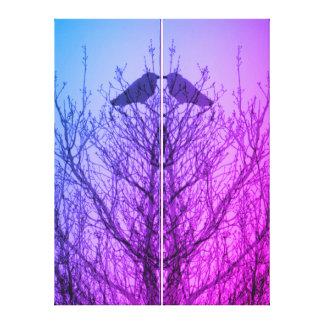Pourpre bleu d'arbre de corneille d'impression toile