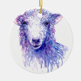 Pourpre bleu de moutons de peinture d'aquarelle ornement rond en céramique