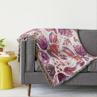 Pourpre d'aquarelle + Couverture florale rose de