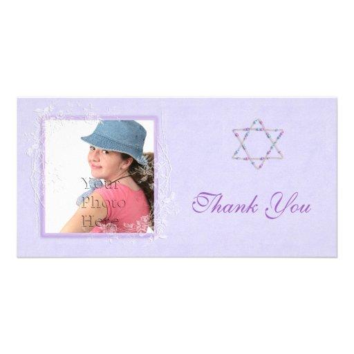 Pourpre de bat mitzvah cartes de vœux avec photo