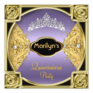 Pourpre de fête d'anniversaire de Quinceañera Carton D'invitation 13,33 Cm