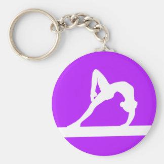 Pourpre de porte - clé de silhouette de gymnaste porte-clé rond