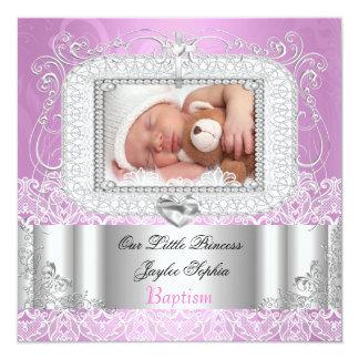 Pourpre de rose de baptême de baptême de bébé carton d'invitation  13,33 cm