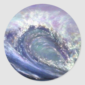 pourpre de vague de plage sticker rond