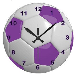 Pourpre du ballon de football   grande horloge ronde