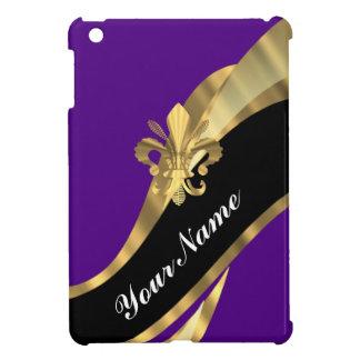 Pourpre et gold fleur de lys coque iPad mini