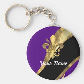 Pourpre et gold fleur de lys porte-clef