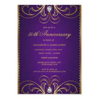Pourpre et invitation d'anniversaire de mariage