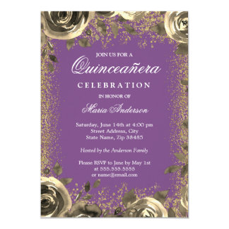 Pourpre et invitation de Quinceanera de parties