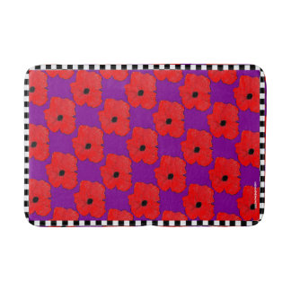 Pourpre et pavot vraiment rouge flower power tapis de bain