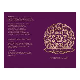 Pourpre et programme indou de mariage de mandala prospectus 21,6 cm x 24,94 cm