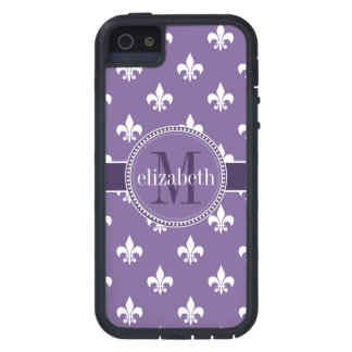 Pourpre et White Fleur de Lis Monogram Coques Case-Mate iPhone 5