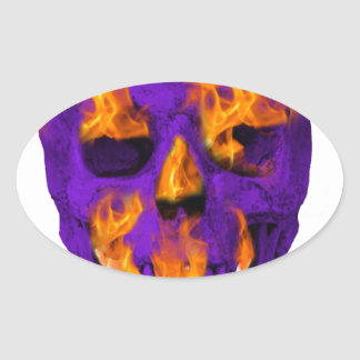 Pourpre flamboyant de crâne sticker ovale