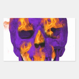 Pourpre flamboyant de crâne sticker rectangulaire