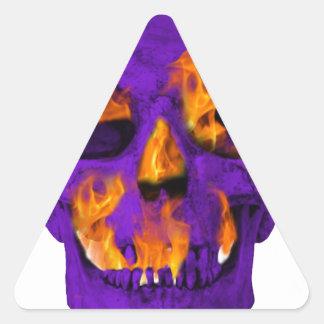 Pourpre flamboyant de crâne sticker triangulaire