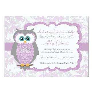 Pourpre, gris, invitations de baby shower de hibou