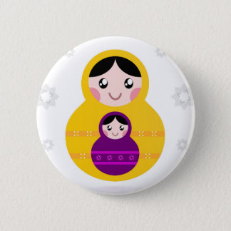Pourpre jaune de Matroshka sur le blanc Badge